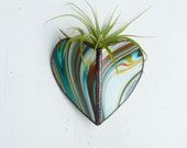 Air Plant Holder - Stained glass Heart Sconce -  Psychedelic