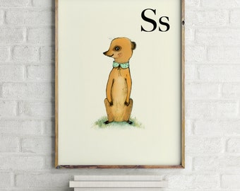 Suricata print, nursery animal print, woodland nursery, alphabet letters, abc letters, alphabet print, animals prints for nursery