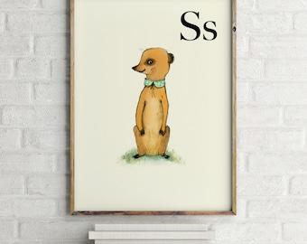 Suricata print, nursery animal print, woodland nursery, alphabet letters, abc letters, alphabet print, animals prints for nursery