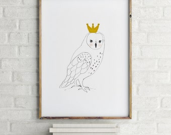 King Owl, Woodland nursery decor, Nursery decor wall art, Woodland nursery wall art, Woodland animal nursery, girl nursery decor