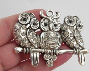 BARGAIN BIN!! Owl Pendant with Crystal Rhinestones - LARGE - 43mm x 58mm x 5mm - Three Owls on Branch - Sale