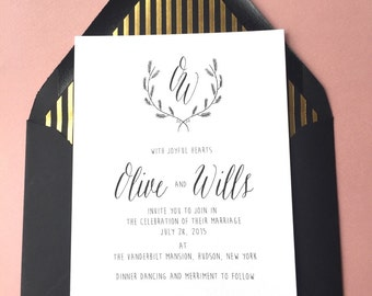 Modern wedding invitation suite,  black and gold, black and white, wedding suite, rsvp card