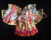 Retro Mushroom and Flower Blythe Dress Set - Pink Orange Yellow - BHC Handmade