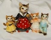 Vintage Genuine Bone China Mother & her Kitten Figures, Cats, Feline, Porcelain, Made in Japan, Easter Kittens, Mama Cat