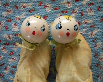 Vintage Pair of Baby Shoes with Celluloid Toy Rattles on Toes Little Goody Toy Shoes
