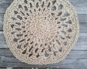 """Natural Jute Cord Round Crochet Rug Lacy Doily 22"""" READY to SHIP"""