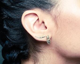 14k Spike Climbers   14k Gold Earrings