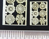 KIT Laser Cotton Lace Doily Round Grouping with 6 doilies Quarter Scale 2 size choices, LQ027
