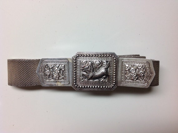Antique Asian Silver Belt with 3 Piece Qílín Buckle