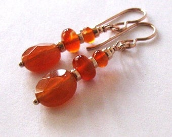 Carnelian Earrings, Red Orange Gemstones, Rose Gold Filled, Autumn Colors, Boho Earrings
