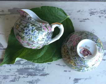 Vintage Creamer and Sugar - Porcelain Chintz Marilyn Exclusive
