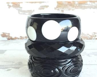 Vintage Lucite Bracelets - Black Polka Dot - Plastic Wide Bangles