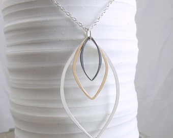 Layering Necklace Gold and Silver Necklace Geometric Necklace Long Necklace Mixed Metal Jewelry Gift For Her Modern Necklace Contemporary