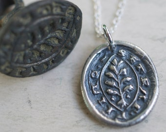 evergreen tree wax seal necklace ... I change only in death - I will remain steadfast - silver Latin motto medieval wax seal jewelry