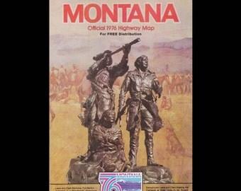 Montana State Highway Map Bicentennial Edition c. 1976