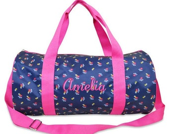 Personalized Duffle Bag Floral Monogrammed Dance Bag Ballet Travel Overnight