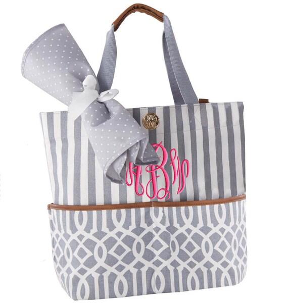 personalized diaper bag gray monogrammed. Black Bedroom Furniture Sets. Home Design Ideas