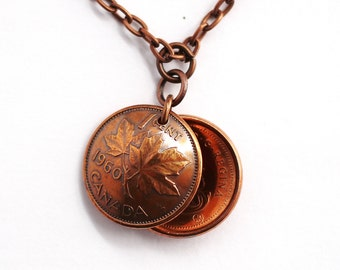 Canada Penny, Domed Coin Penny Necklace, Maple Leaf Penny Coin  Pendant, 2 Canadian Pennies, 1960, 2006 Handmade by Hendywood