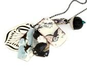 Small Snowy Owl Statement Necklace Geisha Necklace Owl Necklace Owl Jewelry Shrink Plastic Charm Necklace Dangle Necklace Geisha Jewelry
