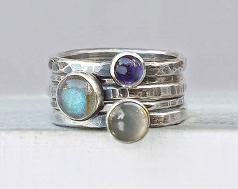 Hammered Silver Stacking Rings with Labradorite, Moonstone, Iolite, Five Stackable Rings in Moody Hues