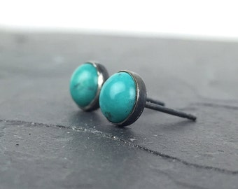 Turquoise Post Earrings, Oxidized Silver and Turquoise Studs, Bezel Set Earrings