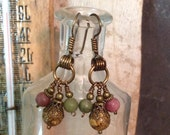 Jasper Dangle Earrings Earthy Pink Tan Green Antique Bronze Hammered Wire Wrapped Earwires    1.99 Shipping USA
