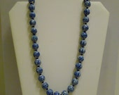 Vintage Chinese Asian Ceramic Glass Beaded Necklace with Cobalt Blue Motif