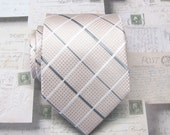 Mens Tie. Pastel Pink Blush and Gray Plaid Mens Necktie with Matching Pocket Square Option
