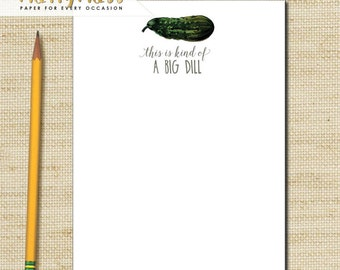 Funny Note pads, Wedding Gift, Teachers Note Pads, This is A Big Dill, Vintage Pickle, Pickle Notepads, Personailized Notepad, Eco Friendly