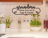 Grandparent gift, Grandma Gift idea, Kitchen wall decal, Mothers Day, Hugs and Snacks, Spoiled, Grandmother birthday, For mom, Nana, Oma