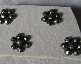 Set of 4 ANTIQUE Tiny Steel Flower BUTTONS