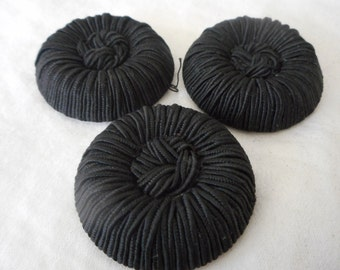Set of 3 Large VINTAGE Chunky Texture Black Fabric Cord Coat BUTTONS