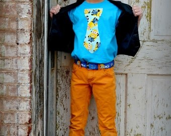 Boys MinionTie Shirt 2T 3T 4T 5T 4/5 5/6 7/8 10/12 and 14/16