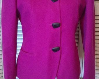 80s Vintage Designer Oleg Cassini Jewel Tone Magenta Blazer Jacket