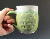 Mug - EAT SLEEP KNIT Mug - Love to Knit Ceramic Mug - Green and White Mug - Large Mug - Handmade Pottery