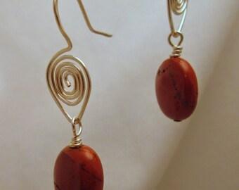 Red Jasper Earrings on Handmade Spiral Ear-wires