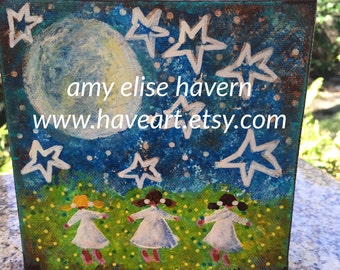 Starry Night Folk Art original 6x6 painting by Amy Elise Havern