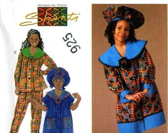 Simplicity 7367 Girls Designs by Shanti Big Collar Dress Top Pants Hat Size 5 6 7 8 Uncut Sewing Pattern 1996