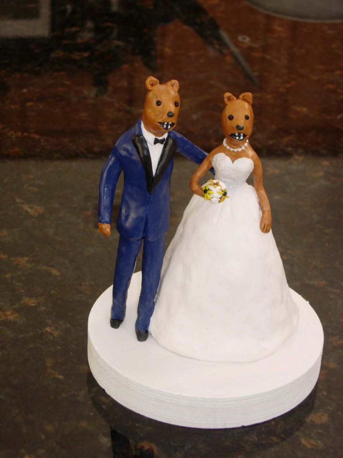 Custom Cake Topper with Mascots in Personalized Wedding Attire