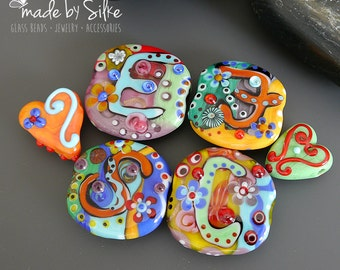 Handmade lampwork beads        Love Letters - Orphans       free-formed     set       artisan glass      made by Silke Buechler