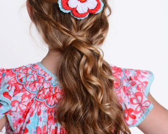 Hair Clip Crochet Flower Hair Clip Crochet Flower Barrette Alligator Clip Aqua Blue Hair Clip Red Hair Clip White Hair Clip Aqua Flower Clip