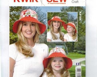 Misses Sewing Pattern Kwik Sew K4164 4164 Misses and Girls Caps Hats UNCUT