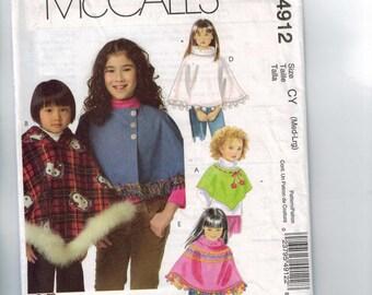 Girls Sewing Pattern McCalls M4912 4912 Girls Ponchos Size 7 8 10 12 Breast 26 27 28 29 30 UNCUT