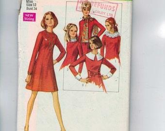 1960s Vintage Dress Pattern Simplicity 8391 Misses Princess Seam Basic Fit Pattern Shell Detachable Cuf Collar Size 12 Bust 34 1969 UNCUT