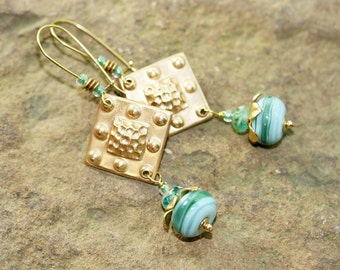 Blue and Green Lampwork Glass and Brass Earrings, Handcrafted Modern Art Glass Jewelry, Geometric Brass Drops, Ocean Inspired Color Palette