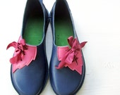 Womens shoes, spell bound PYRAMUS, Handmade Leather leaf Shoes in blues and other colours