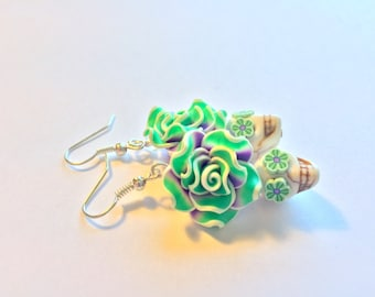 Purple and Green Day of the Dead Roses and Sugar Skull Earrings Small
