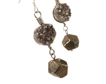 Silver druzy earring with pyrite, sterling silver