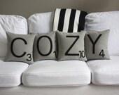 COZY Scrabble Pillows - Inserts Included // Scrabble Tile Pillows // Farmhouse Style // Scrabble Lover Gift // Scrabble Home Decor