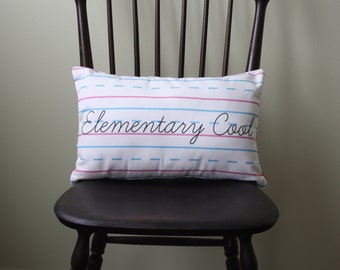Penmanship Pillow - Elementary Cool, Script // School Themed // Teacher Gift // Kids Room // Kindergarten First Second Grade // Classroom